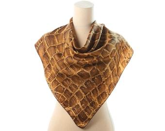Alligator Print Scarf 60s Rare Retro Silk Scarf Bohemian Unisex Muffle Neck Scarf Beige Brown Animal Muffler Hand Rolled Edges Gift Idea