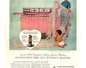 1960 Frigidaire Washer Vintage Ad, 1960's Housewife, Advertising Art, 1960's Laundry, Retro Appliances, 1960's Washer and Dryer.