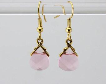 Shimmery Swarovski Pink Teardrop Earrings