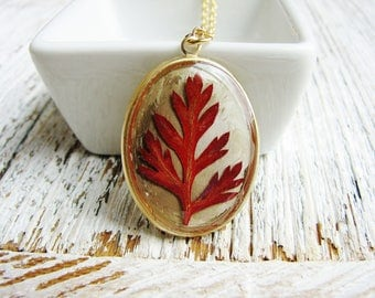 Red Fern Leaf Necklace, Resin Jewelry, Botanical Jewelry, Plant Necklace, Nature Necklace, Leaf Necklace