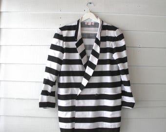 VINTAGE 80s 90s Black White STRIPE Oversize Boxy Blazer Jacket 8 10 Medium