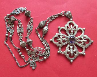 Antique Religious Fleur De Lis Cross Necklace Sterling Silver With Amethyst by Peruzzi Of Boston Pendant  SS59