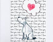 Dog Mom Greeting Card, Mother's Day Card, Dog Greeting Card, Watercolor Dog Love Card, Watercolor Puppy with Heart