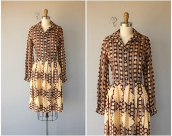 Vintage 1960s Party Dress | 60s Dress | 1960s Floral Print Dress | 60s Party Dress | 1960s Silk Shirtwaist Dress - (medium)