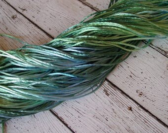 LAST ONE - Hand-dyed Silky Cord in MERMAID, 13 yards