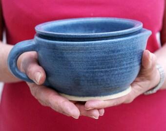 SECONDS SALE - Stoneware shaving scuttle glazed in smokey blue