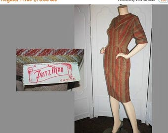 ON SALE Vintage 1960's Wool Dress. Gorgeous Fall Colors in Herringbone Design by Designer Fritz Mar.