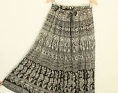 70s Indian Gauze Skirt, Cotton Maxi Skirt BOHO Gypsy Maxi Skirt, Paper Thin, High Waisted Skirt, India Cotton, Hippie, Bohemian Black Skirt