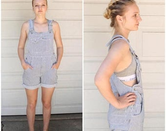 SUMMER SALE Shorts Overalls, Railroad Stripes, Bib Front, Dungarees, Shorteralls, GRUNGE, Striped Denim Overalls, Denim Overalls, Shortalls