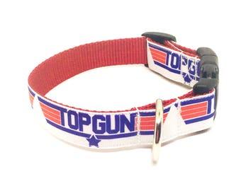 "Top Gun Dog Collar, Boy Collar, Girl Collar, Custom dog Collar, 1"" Collar, Adjustable Collar, Ribbon Collar, Medium, Large, Collar"
