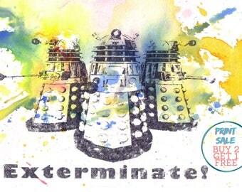 Doctor Who Poster Print Dalek Art Poster Print Great Doctor Who Gift 8 X 10 in. Doctor Who Art Print Poster Nerd Art Poster Geek Gift Decor