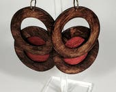 Double Circles Handmade Wood African Earrings Geometric Afrocentric Earrings Tribal mPERFEKtion Earrings for Women by Crittique - mPER137