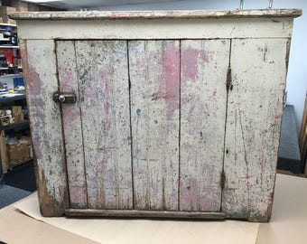Primitive One Door Cupboard Cabinet Salmon and Green Paint 14d30h37w Shipping is not free