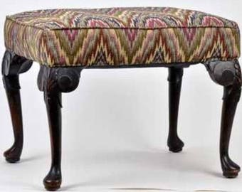 Antique Queen Anne vanity seat bench stool 29w19d18h Shipping is not free