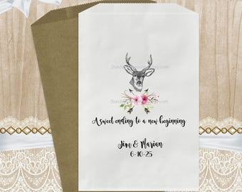 Qty 10 WEDDING  Favor Bags / Boho Woodland Deer Buck / A Sweet Ending To Our New Beginning / Candy Cookie / 5x7 / Personalized 3 Day