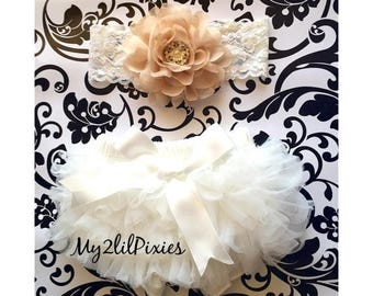 SALE BLOOMER and HEADBAND- Baby Girl Ruffle Bum Bloomer and Headband set, Cream Bloomers, Baby Ruffle bloomers, diaper cover, bloomer, chiff