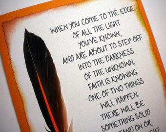 FEATHERED FAITH - Mixed Media Art Card with encouraging verse