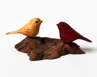Anniversary gifts handmade cardinal love birds 5th anniversary gift romantic gift for women couple gift wood gift bird wood carving