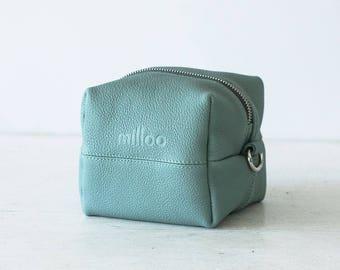 Mint leather makeup bag, beauty case accessory bag vanity storage utility bag beauty storage case diaper zipper pouch-Cube