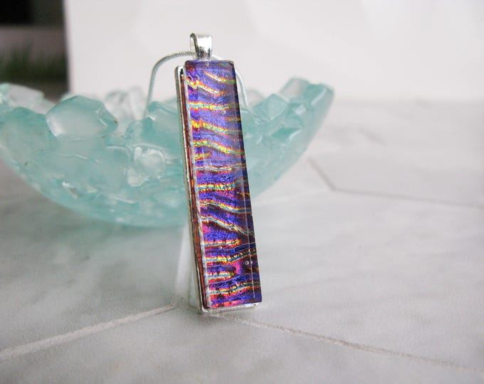 Handmade Glass Pendant, unique pendant, tall modern Glass Necklace, Fused Glass, dichroic glass, bar pendant, rectangle