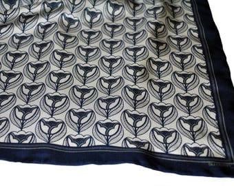 Tulip Silk Pocket Square / Silk Pocket Square / Silk Neckerchief / Silk Scarf / Blue Pocket Square / Blue Silk Scarf / Wedding Accessory