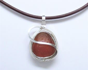 Sea Glass Jewelry - Sterling Small Brown Sea Glass Necklace