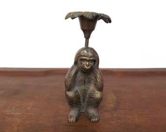 Vintage brass monkey candle holder hear no evil