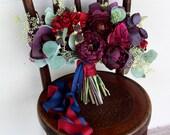 Custom Listing for Lulu - Burgundy Marsala Wine Silk Flower Wedding Bouquet