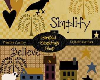 INSTANT DOWNLOAD Primitive Country Digital Scrapbooking Paper & Clipart Pack Prim Houses Tree Crow Stars Hearts Checkerboard Simplify