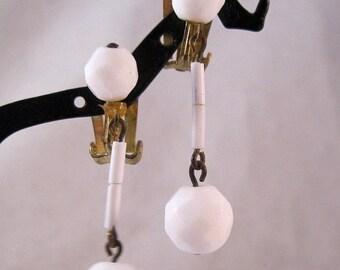 XMAS in JULY SALE Milk Glass Drop Dangle Earrings Clip On 1950s Vintage Jewelry Jewellery