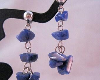 XMAS in JULY SALE Sodalite Nugget Drop Dangle Earrings 14k & Sterling Silver Vintage Jewlery Jewellery