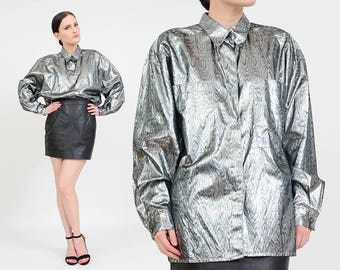 Vintage 80s Lame Shirt   Metallic Silver Blouse   Shiny Moire   Psychedelic Top   Collared Button Down Shirt   made in Italy   Medium M