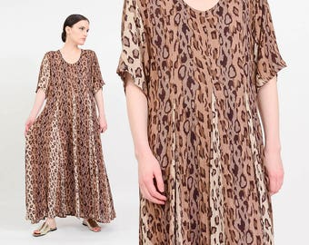 Vintage 90s Indian Gauze Dress   Leopard Maxi Dress Boho Dress   Grunge Dress    Animal Print   Cheetah Dress   Brown Beige   size Large L