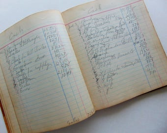1918 Antique Ledger With Marbled Cover