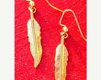 SALE GOLD FEATHER Earrings - Larger size - Gold or Silver