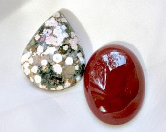 Large Cabochons Ocean Jasper Red Carnelian Green Maroon Stones