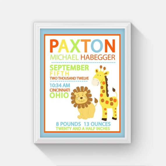 Lion and giraffe jungle nursery birth announcement personalized baby il570xn negle Image collections