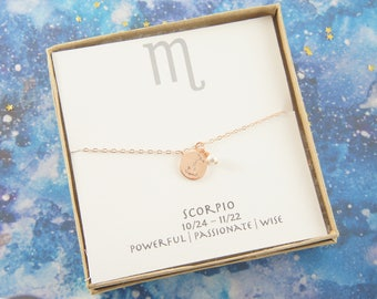 rose gold zodiac SCORPIO necklace, birthday gift, custom personalized, gift for women girl, minimalist, simple necklace, layered