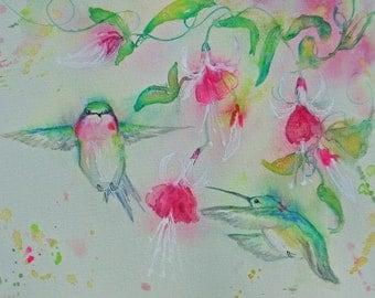 hummingbird fuschia giclee watercolor prints,abstract birds flight flower garden,hummingbird fuschia garden print,home decor,wall decor