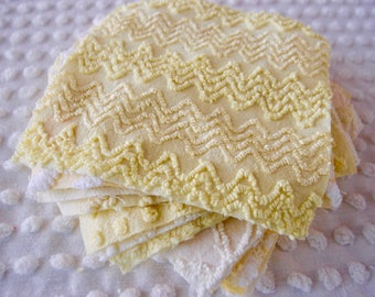 Vintage Chenille Fabric Quilt Squares - 15 - 6 inch squares, yellow - 500-275