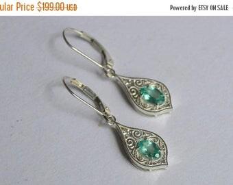 SALE Blue dangly earrings, silver engraved earrings, apatite dangly earrings, apatite earrings, blue gemstone earrings, gifts for moms