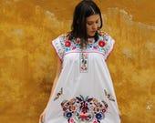 White and multi colored embroidery Puebla Dress
