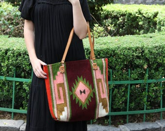 Repurposed Mexican wool rug tote with leather strap