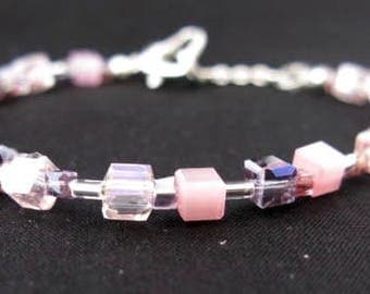 Shades of Pink & Lilac Crystals and semi-precious Cats Eye Cube Bracelet - Small size