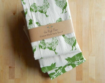 Tea Towel, Hand Printed, Moss Green Farm Prints, 3 Natural Cotton Towels, LIMITED