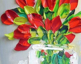 Oil Painting , tulips , Palette Knife , Jan Ironside ,