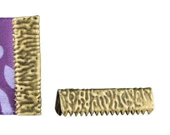 16 pieces 22mm or 7/8 inch Antique Bronze No Loop Ribbon Clamp End Crimps - Artisan Series