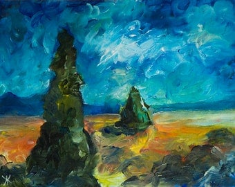 Original acrylic painting Emerald Spires Fantasy art Science Fiction painting Landscape painting Wall decor Impressionistic surreal artwork