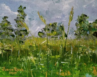 landscape oil painting nature grass trees country clouds sky original paintings canvas art 5x7 - Tall Grass