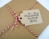 Handmade with Love tags, Christmas gift tags, 25 Etsy seller tags, hang tags, seller supplies, packaging tags, string price tags baked goods